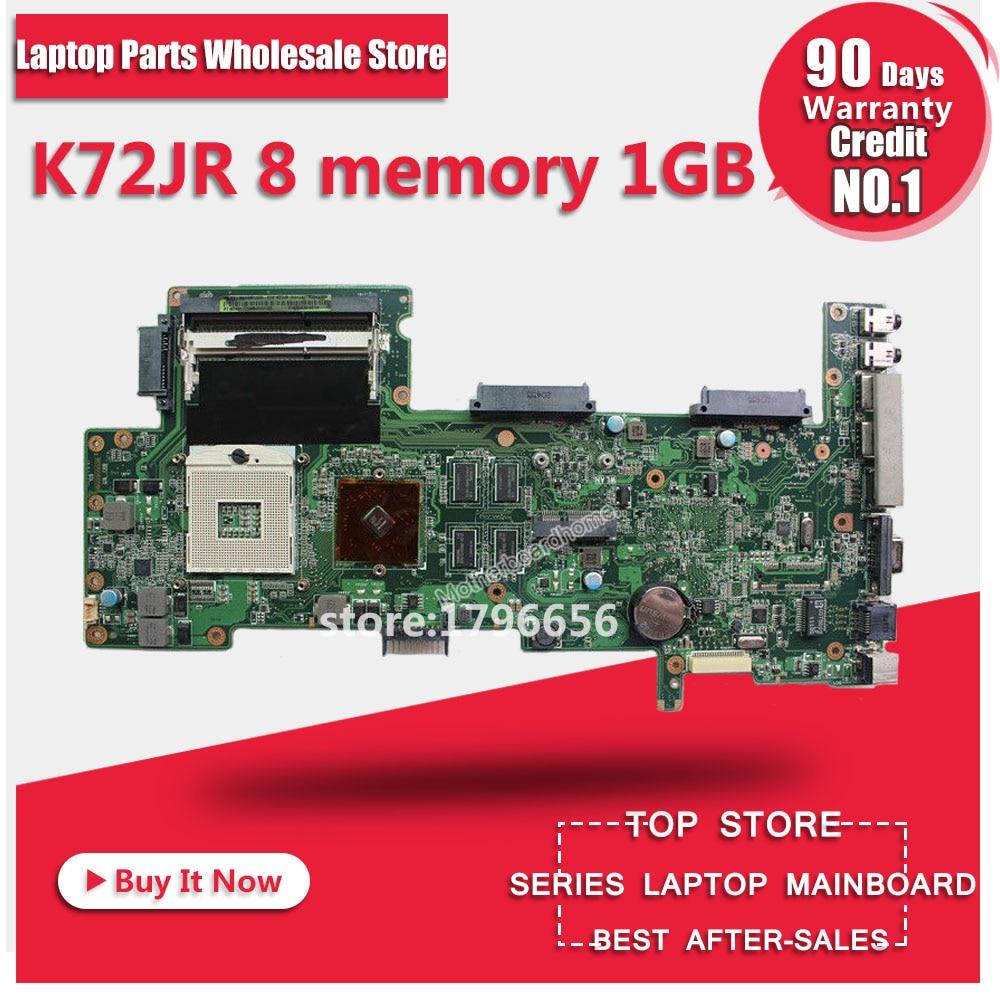 K72JR motherboard REV 2.0 8 memory 1GB For ASUS K72JT K72JK K72JU K72J X72J laptop motherboard K72JR mainboard K72JR motherboard hot selling k72ju k72jt laptop motherboard for asus x72j mainboard hm55 hd6370m rev2 0 1gb ddr3 216 0774211 fully tested 100