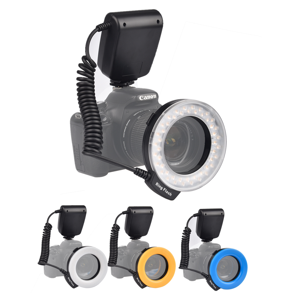 Prix pour Supon 48 pcs rf-550 led macro ring flash light pour canon nikon panasonic olympus dslr camera dv lcd affichage