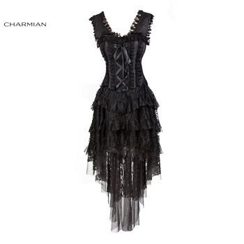Charmian Women's Retro Victorian Gothic Corset Dress Plus Size Sexy Burlesque Ruffle Black Lace Vintage Evening Party Long Dress