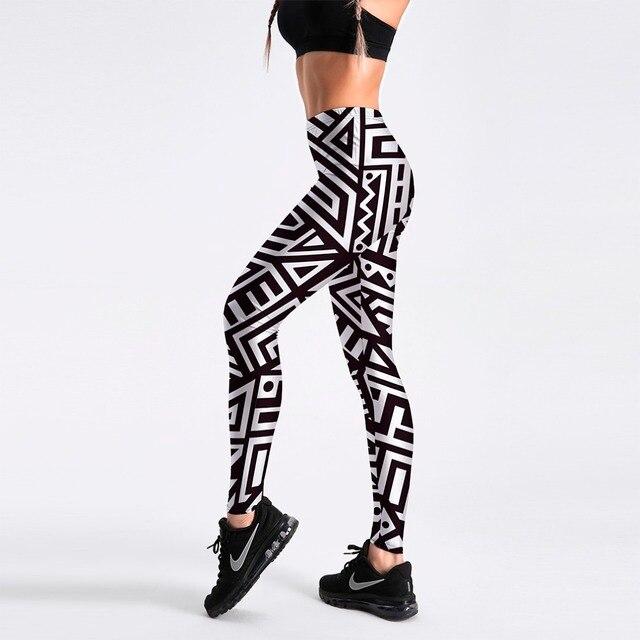 88eeec4f95f 3 Patterns New Pink Black Spiced Women Fitness Leggings Plus Size Goemetric Striped  White Black Casual Pants