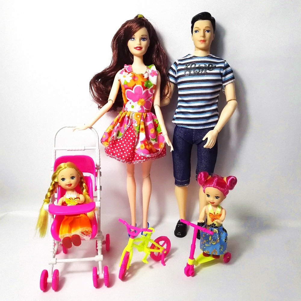 Fashion Doll Family 4 People Dolls Suits 1 Mom/Dad/2 Little Kelly Girl/2 Car/1 Carriage for DIY Toys For Barbie Dolls Girls Gift girl