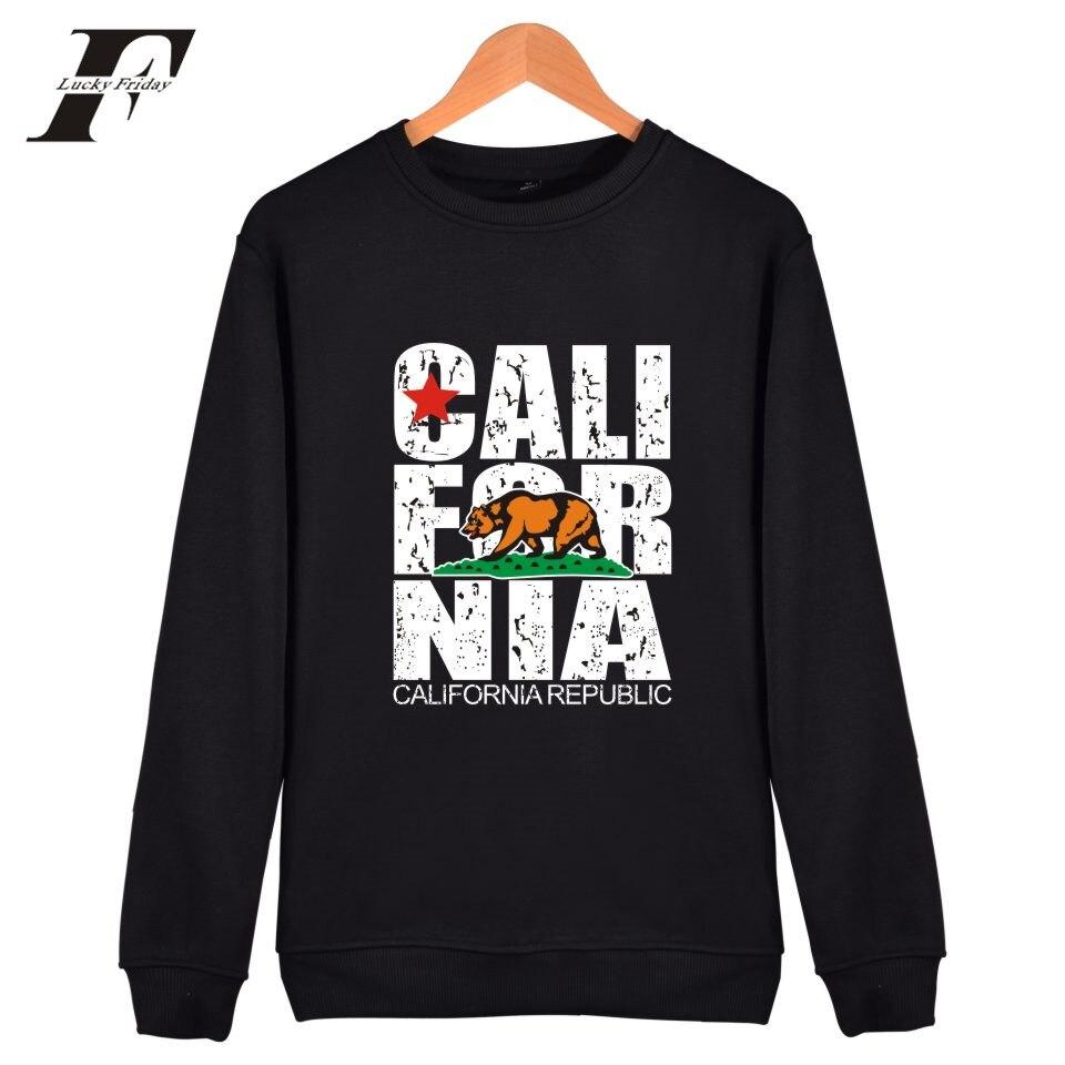 Luckyfridayf California Flag монолитным Толстовки Для мужчин США Калифорния Осень Толстовка Для мужчин Уличная Повседневное хип-хоп одежда