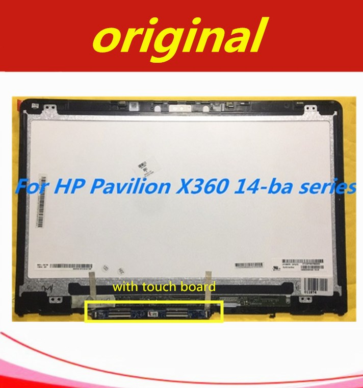 14'' IPS LCD Touch Screen Digitizer Assembly+Frame B140XTN02.E N140HCE-EBA For HP Pavilion X360 14-ba Series With Touch Board