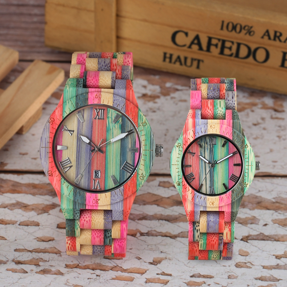 Unique Colorful Men Bamboo Watches Lovers Handmade Natural Wooden Bracelet Quartz Analog Luxury Wristwatches Ideal Gifts Items  (9) -