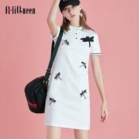 Fashion Women Appliques Diamonds 3D Dragonfly Cartoon Casual Tshirt Dresses Polo Slim Long Shirt Turn Down Collar Baseball Shirt