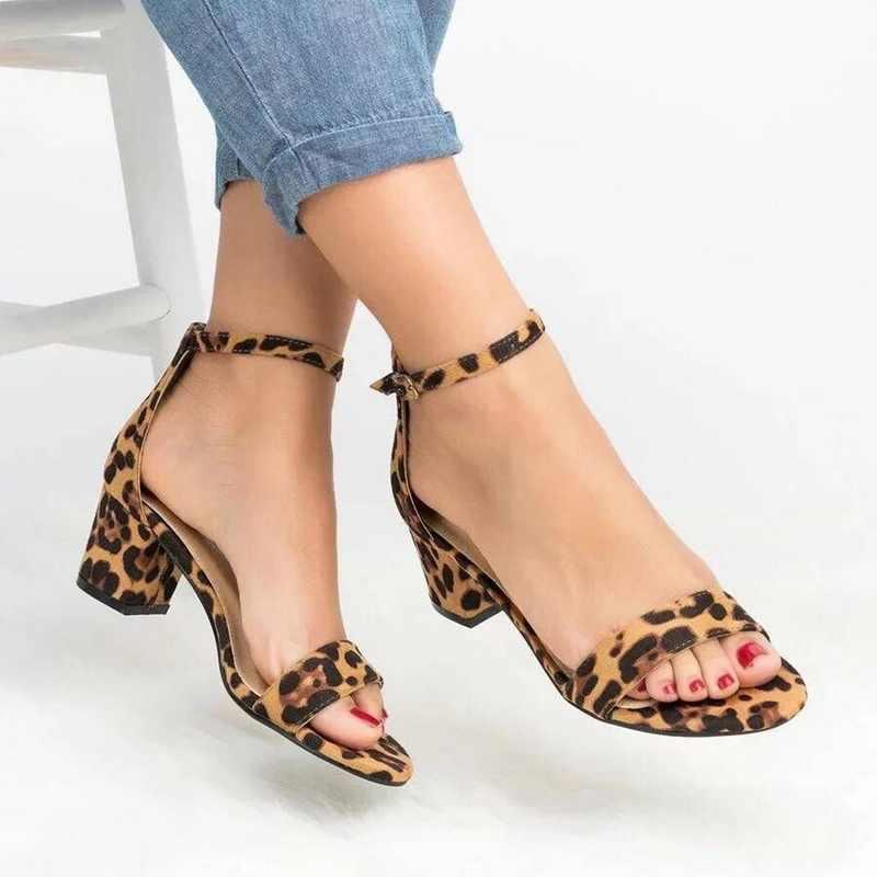 reloj 21c4c 90182 Puimentiua 2019 mujeres tobillo Correa tacones leopardo estampado sandalias  verano Zapatos Mujer abierto dedo grueso tacones altos vestido sandalias ...