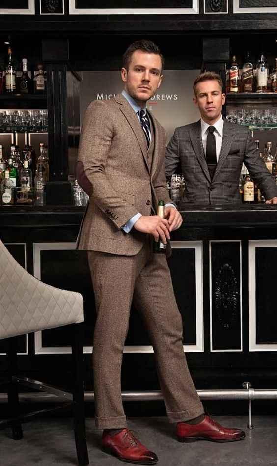 2017最新コートパンツデザインブラウンツイード男性スーツ新郎ブレザースリムフィットスキニー3ピースタキシードスタイルスーツカスタムterno masculino
