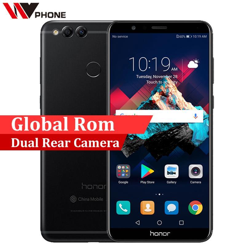 Официальный Глобальный ROM-файл Huawei Honor 7X 4G 32 г мобильный телефон Dual сзади Камера 3340 мАч 5,93 дюймов 2160 * 1080P сканер отпечатков пальцев