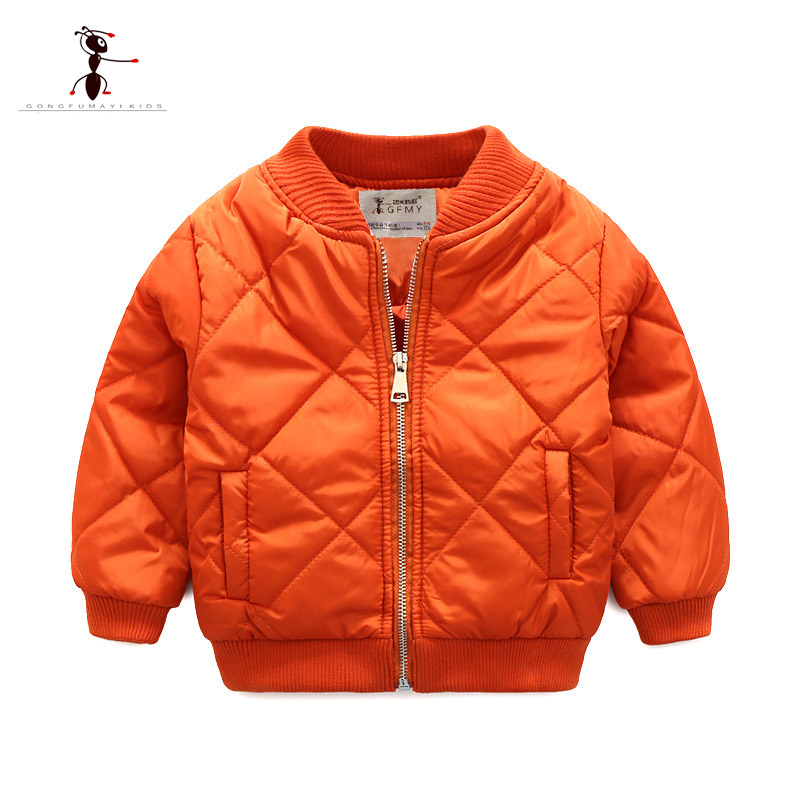 Kung Fu Ant Winter Boys Coat Cool Style Kids clothes Navy Orange Color Army Jacket Childrens Coat Street Home Short Tops 3229