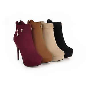 Image 4 - JK Big Size 32 48 Stiletto Heels Women Boots Round Toe Flock Ladies Shoes Crystal Rubber Autumn Zip Footwear Platform Ankle Boot
