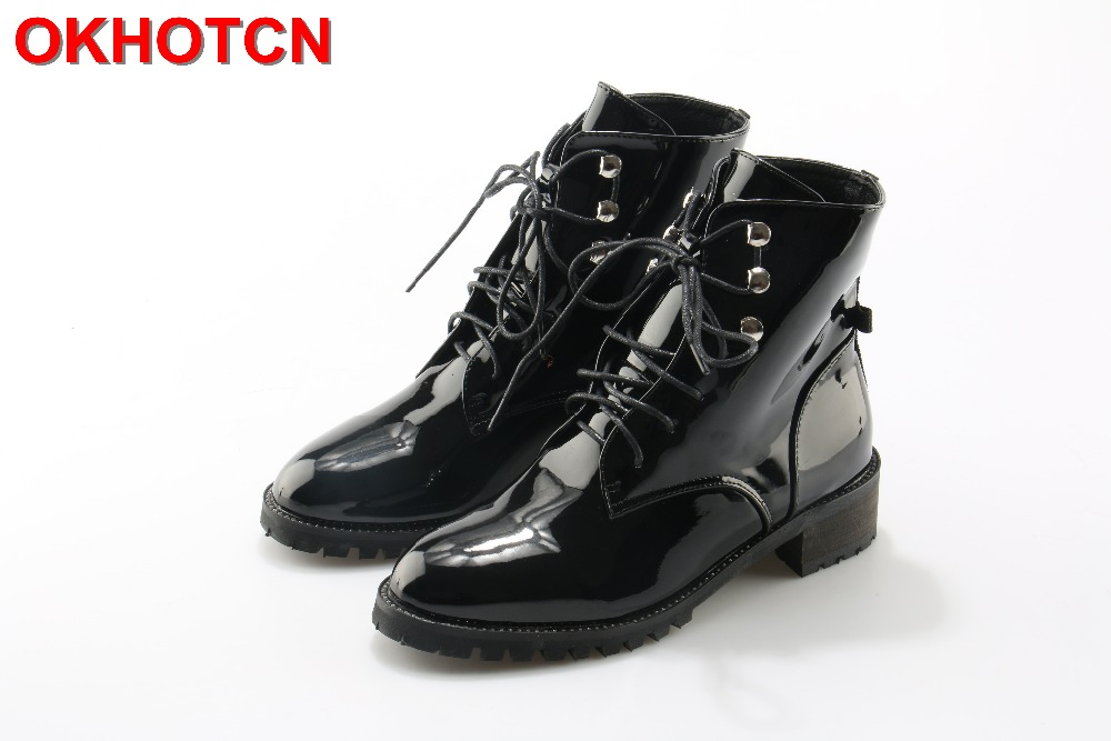 Ankle Boots For Women 2017 Autumn Winter Patent Leather Lace Up Ladies Shoes Black Short Western Martin Boots With Rivets Button fall flat black waterproof 2017 women shoes retro front lace up casual ankle boots autumn patent leather chunky booties vintage