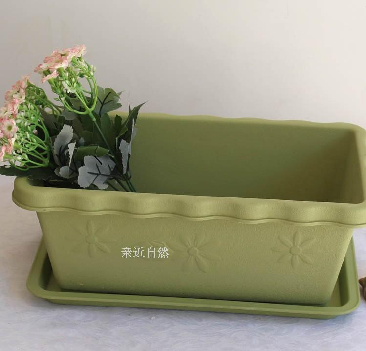 balcony kitchen extra large flower pot rectangle plastic flower vegetable pot with tray in. Black Bedroom Furniture Sets. Home Design Ideas