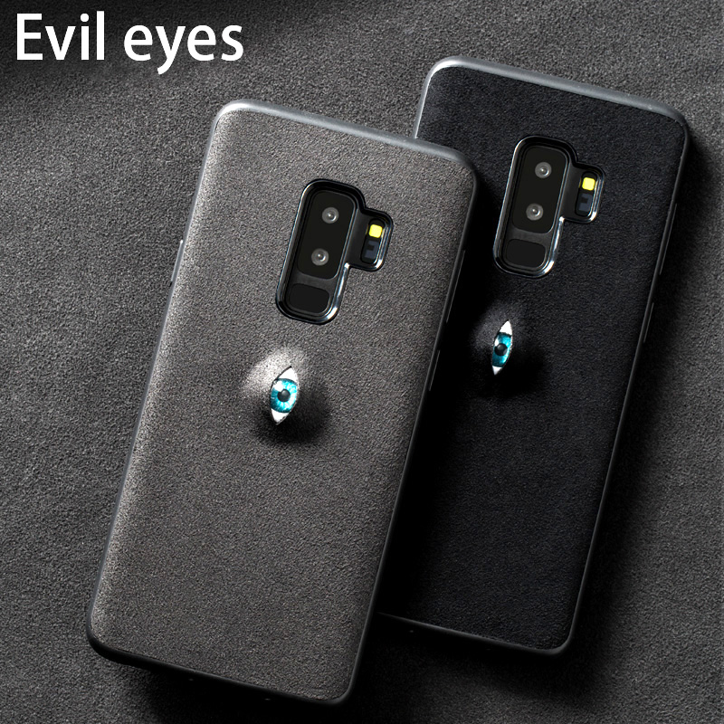 Phone case For Samsung Galaxy S7 S8 S9 Plus case 3D Evil eyes Suede leather back cover For Note 8 9 A5 A7 A8 J5 J7 2017 case