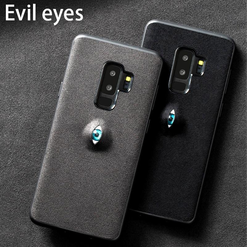 Telefon fall Für Samsung Galaxy S7 S8 S9 Plus fall 3D Bösen augen Wildleder leder zurück abdeckung Für Hinweis 8 9 A5 A7 A8 J5 J7 2017 fall