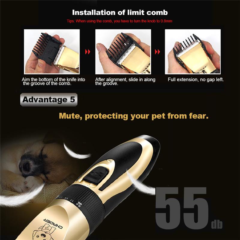Recortadora eléctrica de bajo ruido para mascotas 9