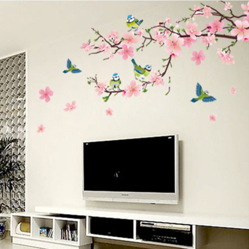 flower tree and birds wall sticker free shipping worldwide happy street lights birds with tree wall sticker
