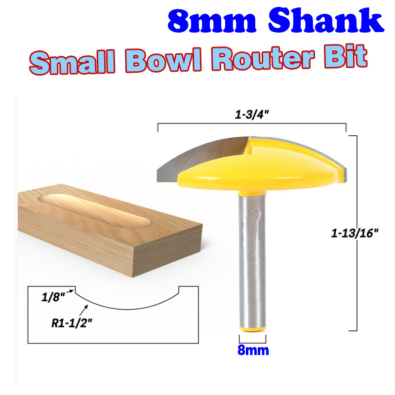 1PC 8mm Shank Small Bowl Router Bit - 1-1/2 Radius - 1-3/4 Wide  door knife Woodworking cutter  - ChWJW 16170m 2 pc 1 2 sh 1 2 3 8 rabbeting