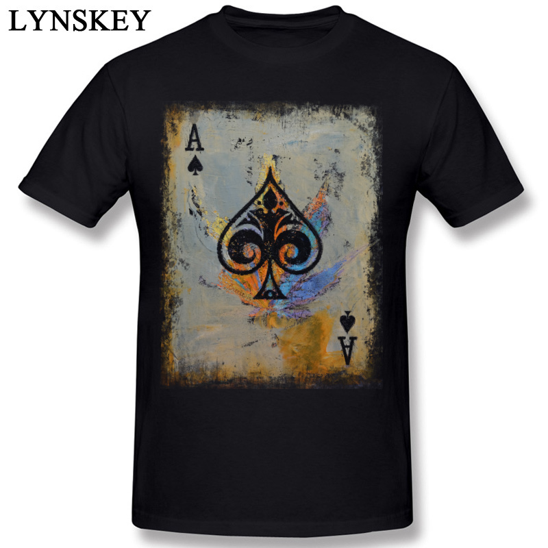Poker O-Neck T Shirts Men Cotton Tops & Tees Ace Printed Summer Fall Short Sleeve Students Faddish Casual Clothing