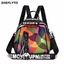 Waterproof Oxford Backpacks Women Geometric Pattern School Bags for Teenager Girls School Backpack Female Travel Shoulder Bags