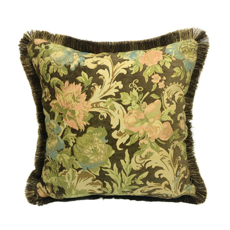 Us 9 99 Brown American Fl Soft Heavy Chenille Multi Colors With Fringe Square Pillow Case Sofa Cushion Cover 45 X Cm By Pc In