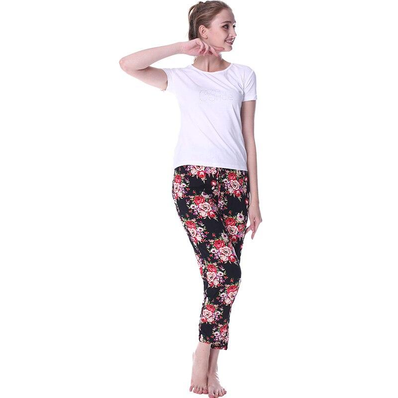 Schlafhosen Damen-nachtwäsche 2019 Frühling Mädchen Marke Homewear Frauen Casual Print Nachtwäsche Unterseite Damen Lange Länge Nighty Hosen Weibliche 100% Baumwolle Hose