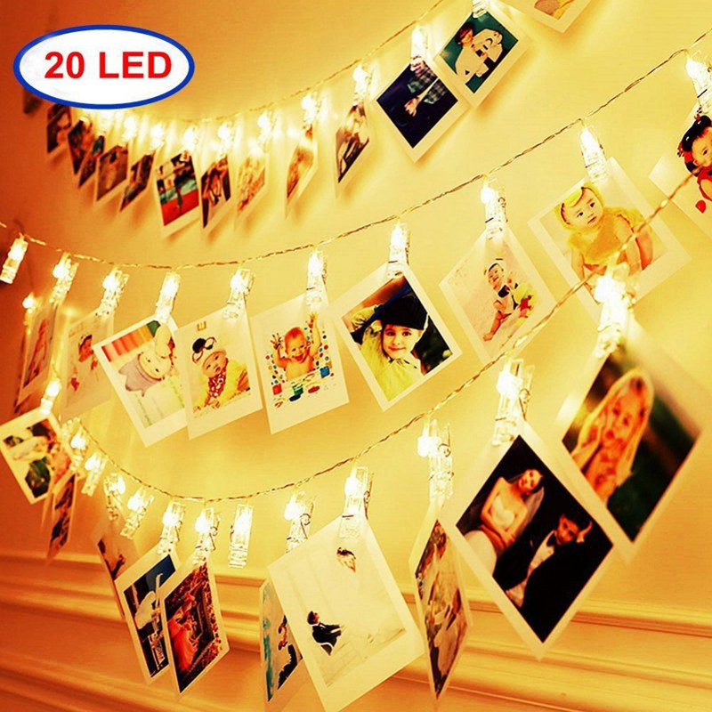 20 LED Photo Clip String Lights Battery Powered For Hanging Paintings Pictures Card Memos Indoor Fairy Twinkle Lights Christmas