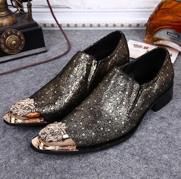 Choudory Uomo scarpe oro Metal Metal Metal Pointed Toe Espadrilles Brand Flats   9b2e2f