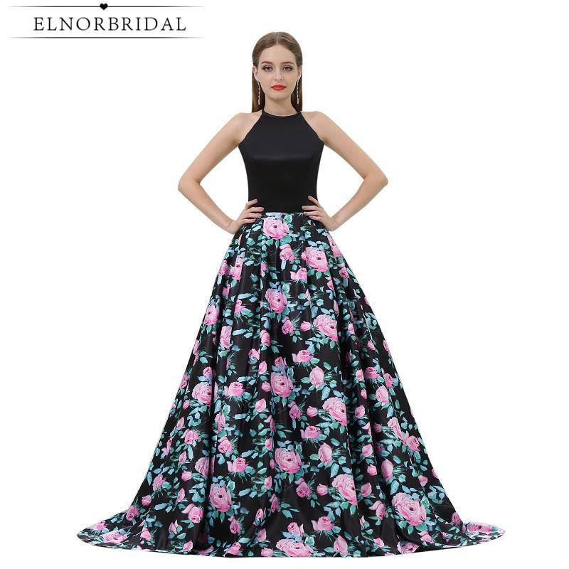 Elegant Evening Dresses Open Back 2019 Vestido De Festa 3D Floral Print Formal Dress Long Party Prom Gowns