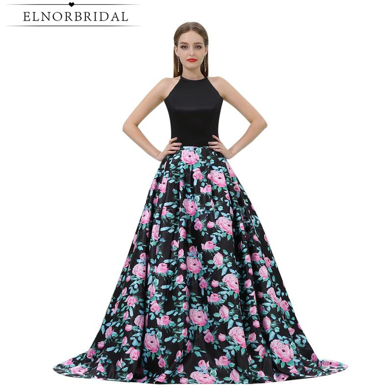 Elegant   Evening     Dresses   Open Back 2019 Vestido De Festa 3D Floral Print Formal   Dress   Long Party Prom Gowns