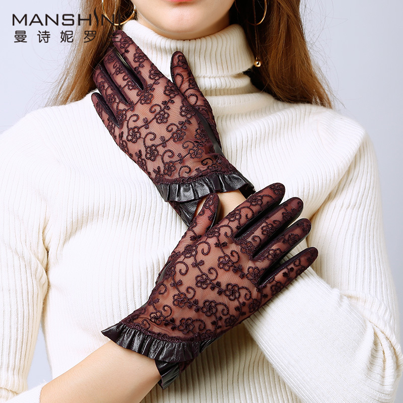 Winter Women's Fashion Driving Touch Screen Gloves Lace Splicing Genuine Leather Glove Sheepskin Thin Slip-proof Gloves L082