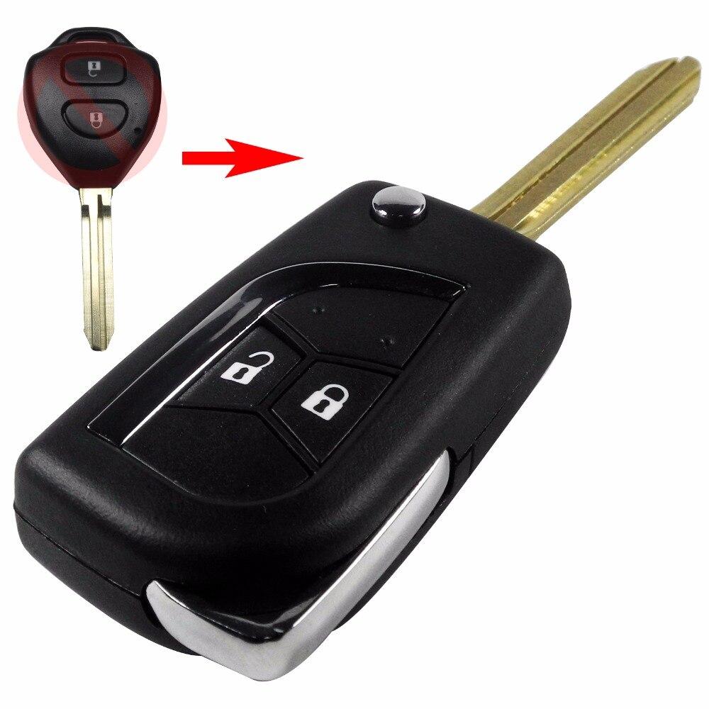 10pcs lot remote modified key fob shell 2 buttons for toyota camry corolla hilux prado alarm flip folding key case