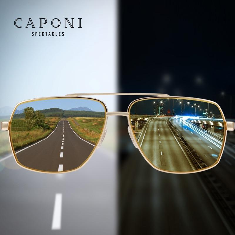 CAPONI Driving Polarized Photochromic Sunglasses Men Chameleon Glasses Men Sunglasses Driver Goggles oculos lentes de sol hombre