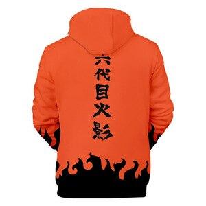 Image 2 - Sudaderas de moda de los hombres de dibujos animados Naruto Hoodies chaqueta mujer naranja negro 3D Hoodie Naruto Cosplay traje abrigo