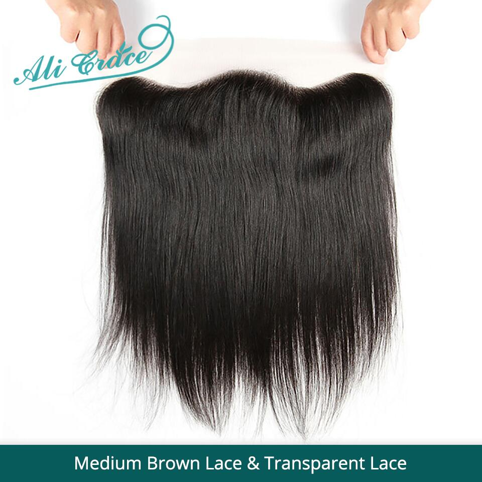 Ali Grace Brazilian Straight 13*4 Lace Frontal Medium Brown/ Transparent Lace Free/Middle Part Frontal 130% Destiny Remy Hair(China)