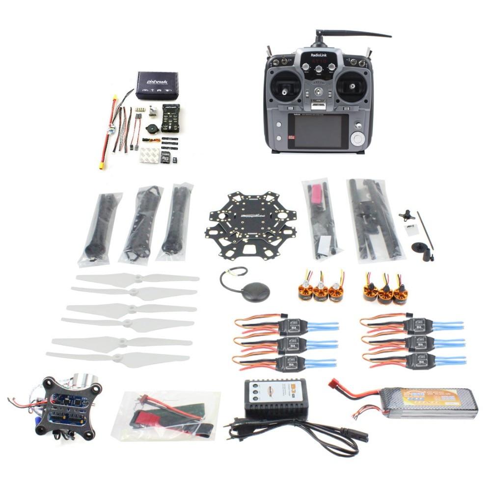 DIY FPV Drone 6-axle Hexacopter Kit HMF S550 Frame PXI PX4 Flight Control 920KV Motor GPS Gimbal AT10 Transmitter