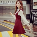 dabuwawa suspenders skirt female fall 2016 new autumn large sizes fashion british style slim waisted skirts women pink doll