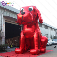 Customized 16.4ft high red and golden giant inflatable dog decorative air blown big dog toys