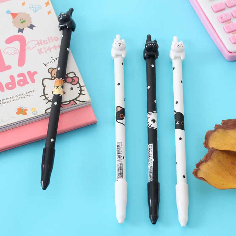 1 قطع kawaii القط هلام القلم لطيف القطط الضغط نوع 0.38 ملليمتر الأسود أقلام الحبر القرطاسية اللوازم المدرسية canetas اجتماعيون