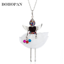 Colored Doll necklace Women Black White Angle Baby Alloy Doll Pendant Necklace Long Chain Charm Jewelry Girl Gifts Bijoux Femme acorn shaped silicone chain zinc alloy pendant necklace black copper multi colored