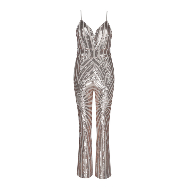 2018 New Fashion Hotstyle Chic Sparkly Gold Women Jumpsuit Christmas Party Jumpsuits Spaghetti Strap Outfit Clothing Wholesale 1