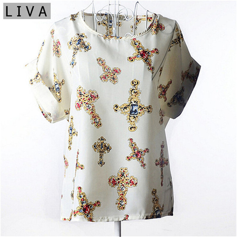 Hot Sale Women   Blouses   Printed Patterns Loose Style Chiffon Short Sleeve   Shirt   Summer Women Clothing Tops Tee Blusa Camisa Cross