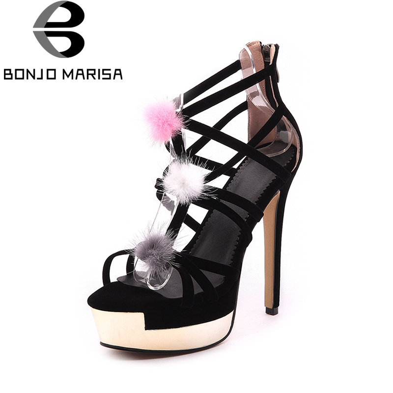 BONJOMARISA New Top Quality Sexy Thin High Heels Platform Gladiator Women Shoes Sandal Summer Party Wedding Sandals Woman