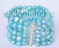 Free Shipping >>>>>8 6row 9mm baroque sky blue pearls bracelet bangle magnet clasp j8829
