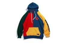 Hip Hop Hoodie Sweatshirt Mens Color Block Patchwork Harajuku Hoodie Streetwear Casual HipHop Pullover Oversized Autumn 2019 New color block panel drawstring pullover hoodie
