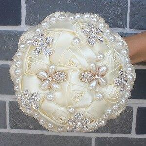 Image 4 - WifeLai un ramo de cuentas de perlas de diamante de marfil, ramos de novia de flores de crema Ramos de Dama DE HONOR DE BODA (se acepta personalizado) W0724