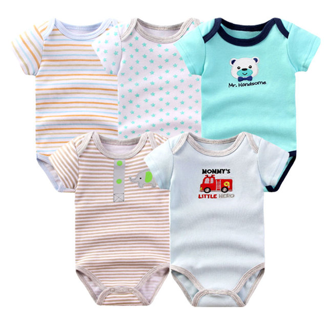 5 unids/lote clothing 2017 verano 100% de algodón monos del bebé recién nacido, niña, niño mono manga corta siguiente cuerpo ropa del bebé fijada b-01