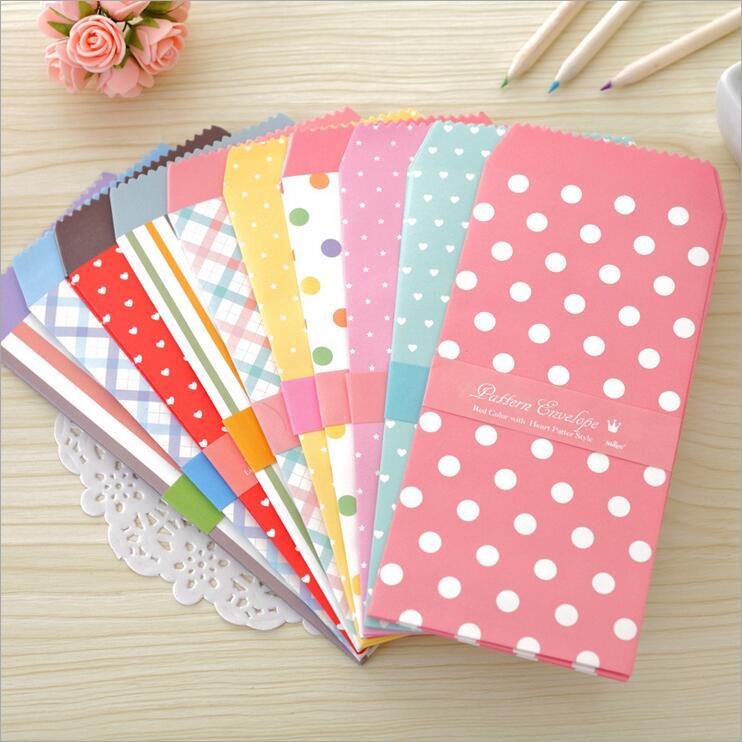 50pcs/lot 195*85mm Romantic Colorful 10 Designs Envelops Paper Gift Envelopes