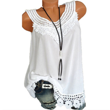 цена на Women Casual O-neck Vest Summer Loose Sleeveless Blouse Lace Patchwork Tops Plus Size