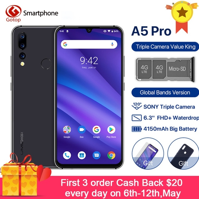Global Version UMIDIGI A5 PRO Android 9.0 Octa Core Mobile Phone 6.3' 4GB RAM 32G ROM