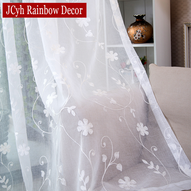 Voile Curtains Bedroom Living-Room Embroidered White Blinds Drapes Korean Window